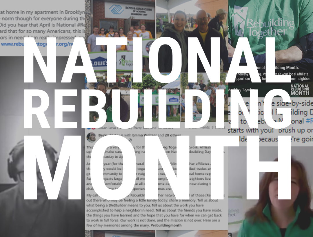National Rebuilding Month logo over a collage of social media posts