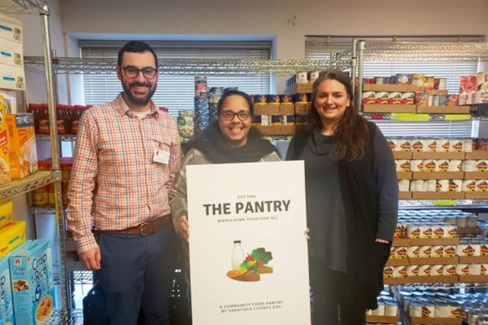 Community Services Director Angelo Calbone, Executive Director Jo Anne Hume and Deputy Director Krystle Nowhitney Hernandez announce that Saratoga County EOC will transition its food pantry to a choice pantry this spring.