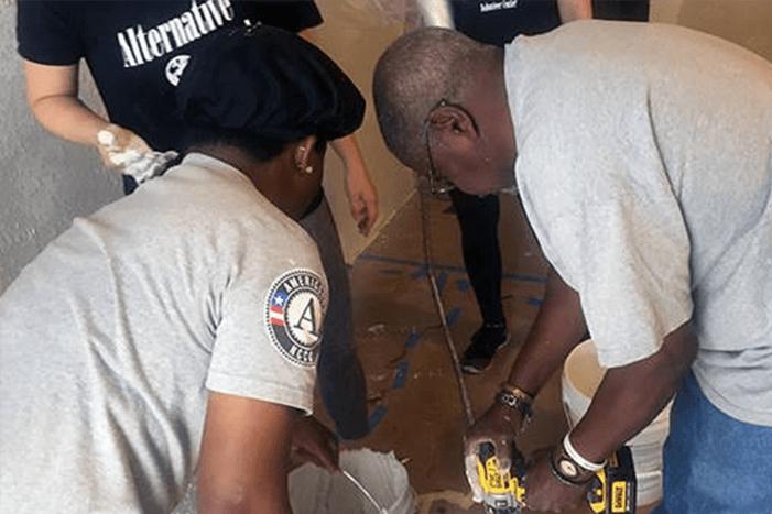 Volunteers with Rebuilding Together Baton Rouge making repairs
