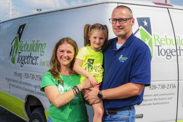 Appleton's Freddy and Amanda Weidner and their daughter Norah, 4, volunteer with Rebuilding Together Fox Valley. Freddy has been with the organization since 2006 and is now its board president.